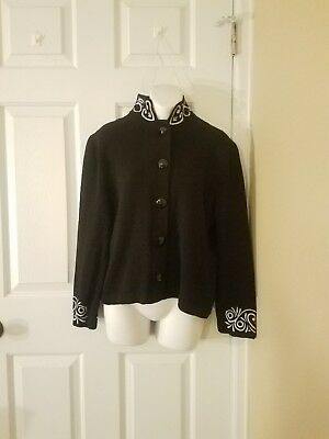 St. John By Marie Gray Size 8 Sweater Black With White Embroidered Details