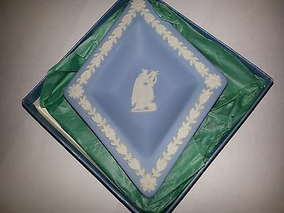 1983 Wedgwood Jasperware Diamond Shaped Dish - White on Blue Plate