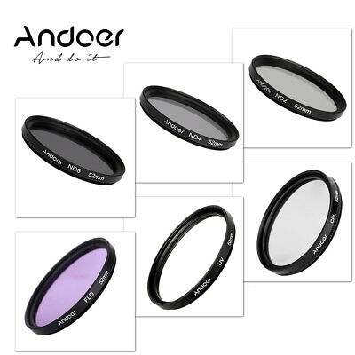 Andoer 52mm UV+CPL+FLD+ND(ND2 ND4 ND8) Photography Filter Kit Set Fluorescent Fi