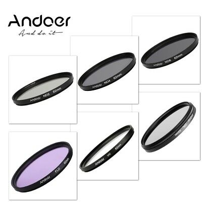 Andoer 62mm UV+CPL+FLD+ND(ND2 ND4 ND8) Photography Filter Kit Set for Nikon Cano