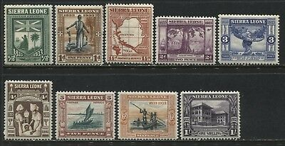 Sierra Leone KGV 1933 Wilberforce issue to 1/ mint o.g., 5 with selvage behind