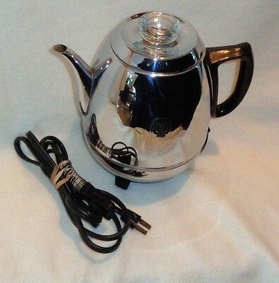 Vintage GE~ General Electric Chrome Pot Belly 9 Cup Coffee Pot Percolator #18P40