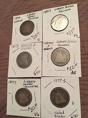 Liberty Seated Quarters (6) 1854 1857 1873 1874-S 1877 1877-S