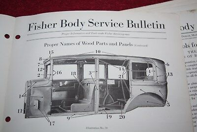 Rare Vintage Original Group of 1928 Chevrolet Fisher Body Bulletins - 10 Issues