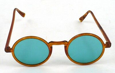 Rare Beautiful 1930s? faux Tortoise Shell round teal green lens Sunglasses