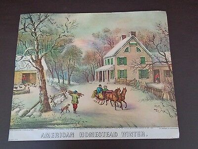 """Vintage Currier & Ives Print """"American Homestead Winter"""" (Cat.#A9014)"""