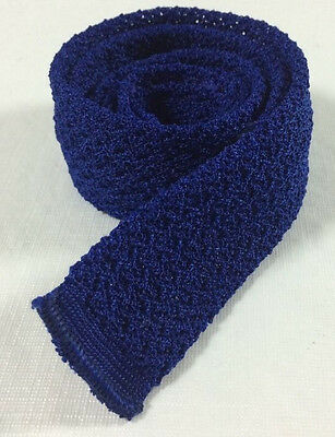 "vtg 50s Royal Cravat Blue Knit Dacron Polyester Skinny Slim Neck Tie 49"" x 1.75"""