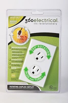 360 Degree Rotating Electrical Outlet 36010 W Duplex Outlet White