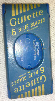 Vintage Gillette Blue Blades Razor Blade Tin Safety Holder Drug Store Stock