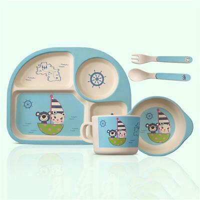 5PCS Baby Bamboo Fiber Cartoon Bowl Cup Toddler Feeding Dishware Tableware Set