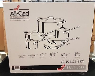 NEW All-Clad 401488R Stainless Steel Cookware Set 10-Piece - Tri-Ply Bonded