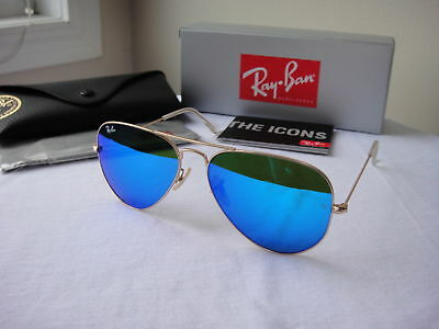 Authentic Ray-Ban Sunglasses Aviator RB3025 112/17 Gold Frame Blue Mirror 58mm@