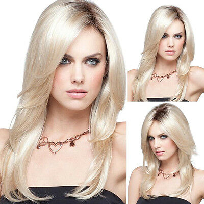 Long Synthetic Straight Hair Ombre Blonde Duck Roots Middle Part Wig For Girl