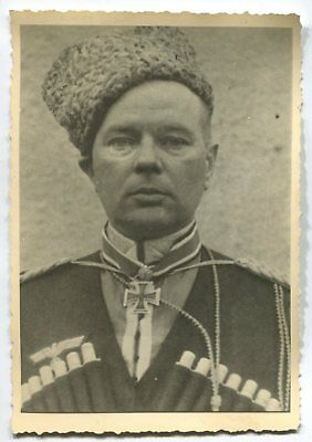 German Wwii Photo From Archive: General With Knight's Cross In Cossack Uniform