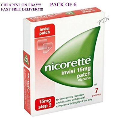6 Packs of Nicorette Step 2 Invisi 15mg Patch Nicotine 7 Patches