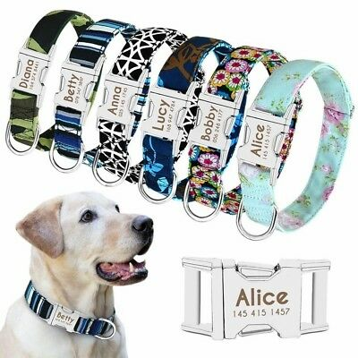Nylon Personalised Dog Collar Small Large Pet Custom Name Collar Tags Heavy Duty