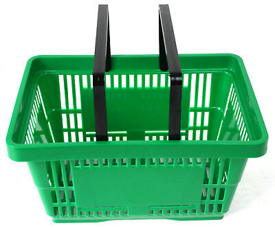 2 Handle Green Plastic Shopping Basket Retail Supermarket Use Hand Carry