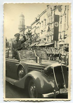 German Wwii Photo From Archive: Italian Military Leader In Vintage Motor Car