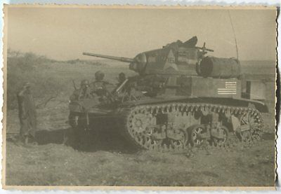German Wwii Photo From Archive: M3 Stuart American Tank, African Campaign