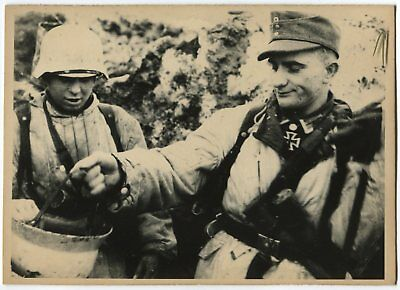 German Wwii Photo From Archive: Soldiers In Field Uniform, Wintertime