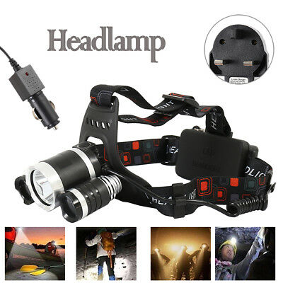 6000LM 3 XML Head Torch Headlamp Lamp Light CREE T6 LED Rechargeable Fishing US