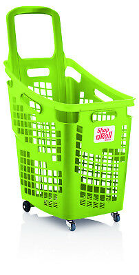 Araven 4 Wheel Plastic Shopping Trolley Basket 65L Extra Large Lime Green