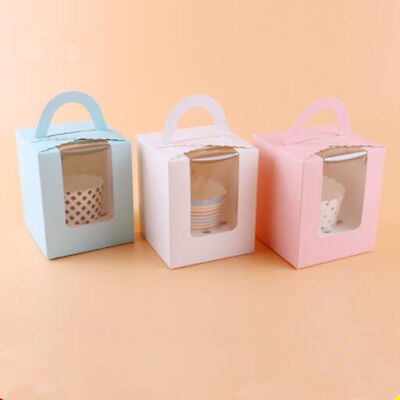 5 Pcs Single Cupcake Muffin Fairy Cake Boxes Clear Window Gift Box Healthy