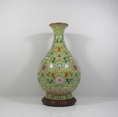 A Chinese Lime Green Ground Famille Rose Pear Shaped Vase