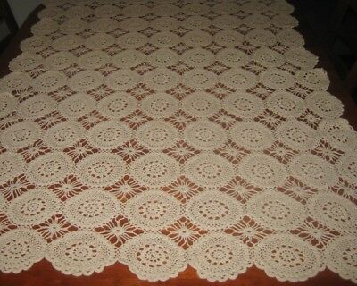 Vintage Crocheted Lace Tablecloth ~ Beige ~ Cotton ~ Oblong