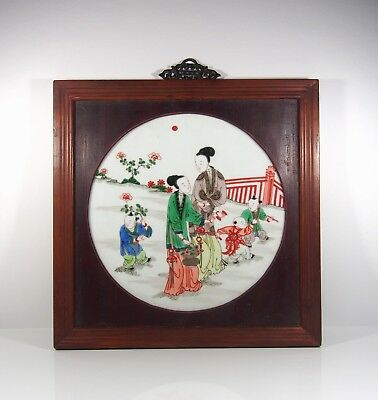 A Framed Chinese Famille Verte Plaque