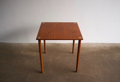 Georg Petersens teak Danish side table with brass inserts 1960's