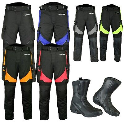 Motorcycle Racing Cordura Trousers and Leather Motorbike Boots Waterproof Armour