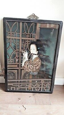 SALE Art Vintage Chinese Reverse Painting on GlassOrnate Brass Hanger