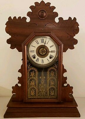 Antique Working INGRAHAM Victorian Carved Oak Gingerbread Alarm Mantel Clock