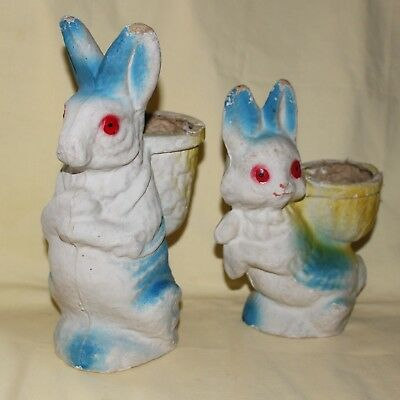 2 Vintage 1950's Papier Mache' Pulp Easter Holiday Rabbits Candy Holder
