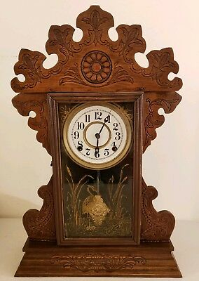 Antique Sessions Clock Co. Carved Oak Gingerbread Parlor Mantel Clock c.1890