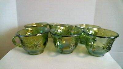 Vintage Carnival Glass Punch Cups Iridescent Indiana Green Harvest Grape (6)