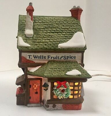 Dept. 56-Dickens Village Series-T. Wells Fruit and Spice Shop