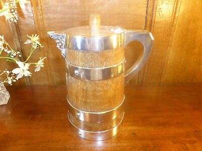 RARE ANTIQUE coopered OAK ALE JUG/PITCHER silver plated BANDS/SHIELD - 8.8""