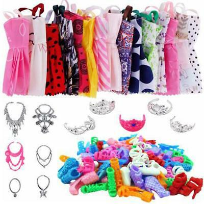 Handmade Doll Clothes Dress Shoes High Heels Headwear Necklace Accessory 35pcs