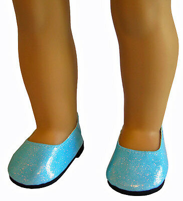 """Doll Clothes fits 18"""" American Girl Aqua Sparkle Slip-on Shoes Accessories"""