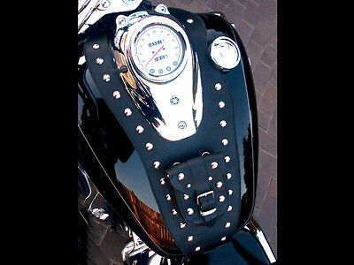 YAMAHA DRAGSTAR / VSTAR XVS 650 LEATHER TANK Panel, Cover Pad Strap Chap Bib Bra