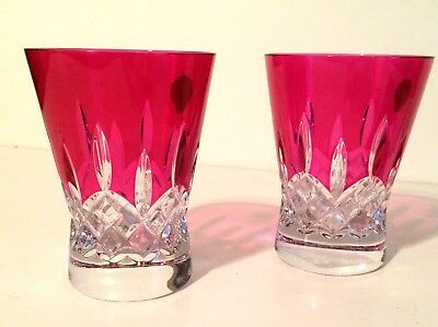 WATERFORD Lismore Pops Set of 2 Hot Pink Double Old Fashioned Glasses Crystal