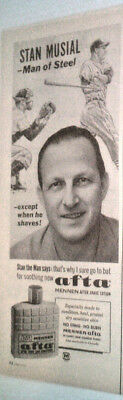 1964 AFTA MENNEN AFTER SHAVE LOTION W/ STAN MUSIAL OF THE St-LOUIS C ORIGINAL AD