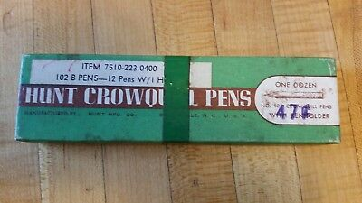 Vintage HUNT CROWQUILL calligraphy writing ink pen with 9 tips nibs original box