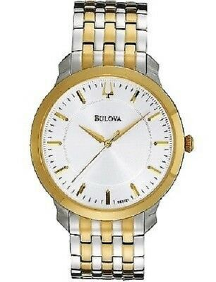 Bulova 98A208 Men's Two Tone White Dial Stainless Steel Watch - NEEDS BATTERY