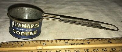 Antique Newmarks Coffee Tin Litho Measure Vintage Scoop Sign Grocery Store Old