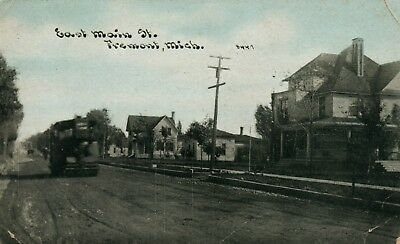 East Main St Fremont Mich MI Michigan vintage Postcard
