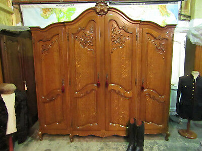 High quality bow top French carved oak Louis armoire,Shelves,wardrobe,Flat packs