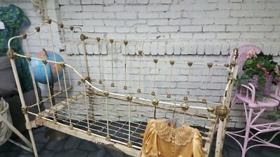 Antique Victorian Childs Crib Cast Iron Bed